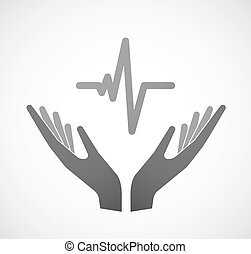Two hands offering a heart beat sign