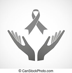 Two hands offering an awareness ribbon