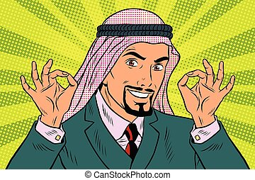 Two hands OK gesture, the Arab businessman