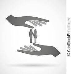 Two hands protecting or giving a lesbian couple pictogram