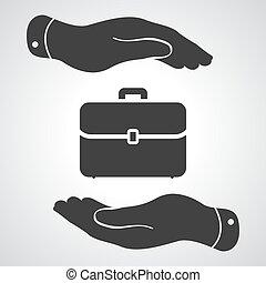 two hands protecting portfolio case icon