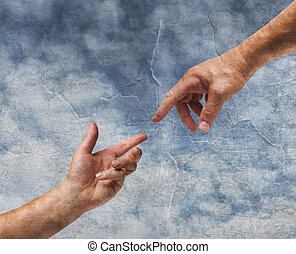 Two hands reaching old painting style - Two hands God and...