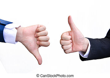 Two hands signalling thumbs up and thumbs down