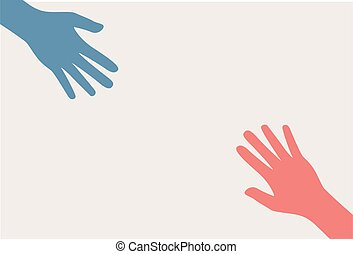 Two hands silhouette reaching towards each other. Vector Illustration