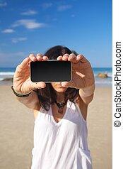 two hands smartphone screen