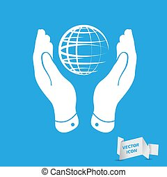 two hands take care of globe planet icon on a blue background