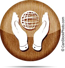 two hands take care of globe planet wooden icon on a white backg