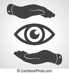 two hands take care of the eye icon - protecting vector...