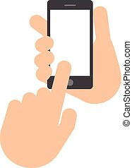 Two hands. The hand holds the smartphone.