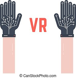 two hands thin with vr gloves