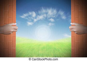 Two hands to open the door nature background