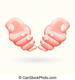 Two hands vector illustrations.