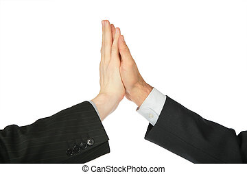 Two hands, which are touched by palms