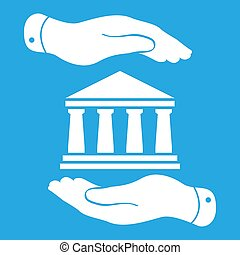 two hands with badge with white bank icon on a blue background -