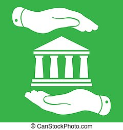 two hands with badge with white bank icon on a green background