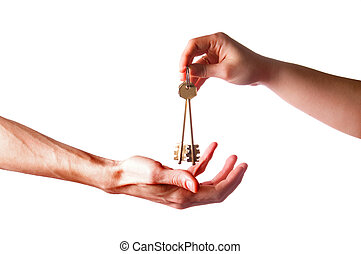 hands with brass keys - two hands with brass keys with...