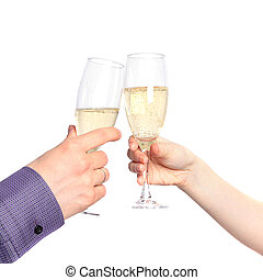 Two hands with glasses of champagne. Dating