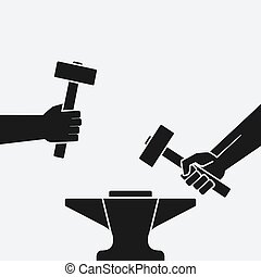 Two hands with hammers above anvil. vector illustration -...