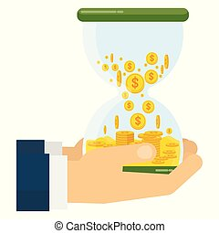 two hands with money hourglass