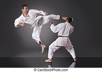 Two handsome young male karate fighting on the gray background