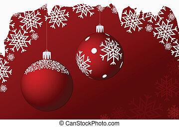 Two hanging christmas balls