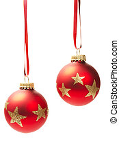 two hanging red dull christmas balls isolated on white background