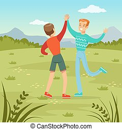 Two happy best male friends meeting on a nature background, young people having fun, friendship concept vector Illustration