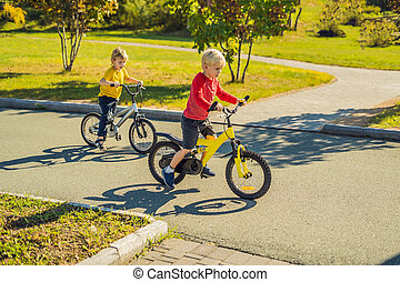 Two happy boys cycling in the park
