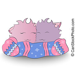 Two happy cartoon character mittens scarf