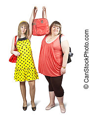 Two happy casual girls with travelling bag over white background