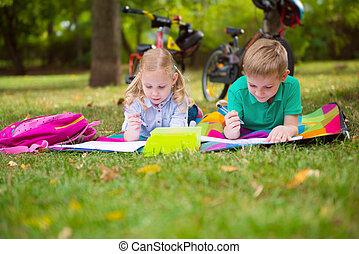 Two happy children  in park