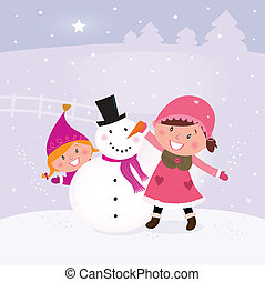 Happy smiling kids in winter costumes making snowman. Vector Illustration.