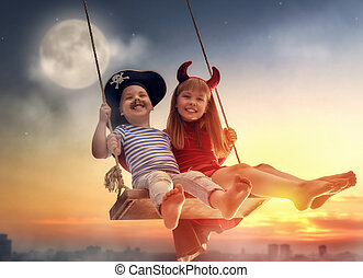 happy children on Halloween