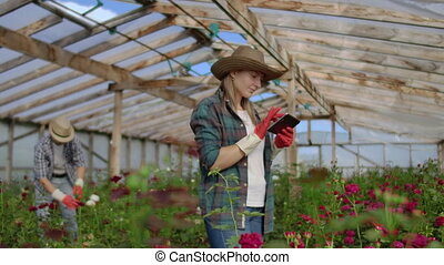 Two happy farmers working in a greenhouse with flowers using...