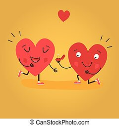 Two happy hearts, proposes a woman to marry. Cute couple in love. Happy Valentine s day vector card