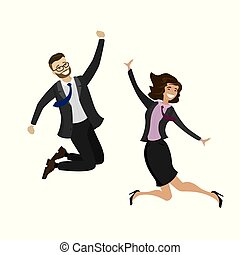 Two happy jumping business people,isolated on white background,