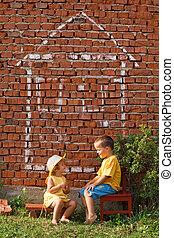 Two happy kids talking