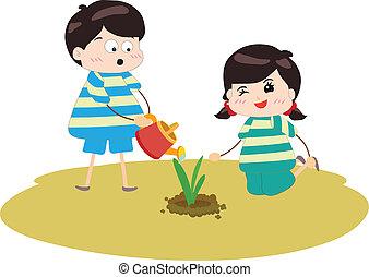 Two happy kids watering
