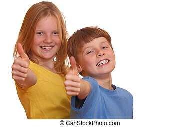 Two happy kids with thumbs up
