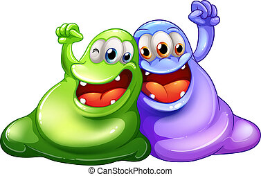 Two happy monsters - Illustration of the two happy monsters...