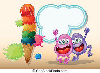Two happy monsters jumping near the giant icecream