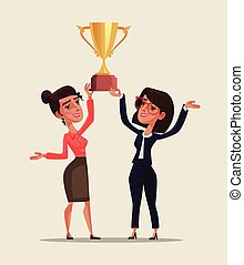 Two happy smiling business woman character holding golden cup together and celebrate victory win triumph. Successful teamwork cooperation employee entrepreneur competition champion concept. Vector flat cartoon graphic design isolated illustration
