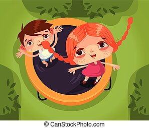 Two happy smiling children brother sister boy and girl character jumping trampoline and having fun. School holidays summer time childhood isolated cartoon vector illustration