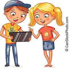 kids looking at tablet pc computer - Two happy smiling kids...