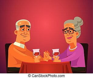 Two happy smiling old people couple grandma and grandpa characters sitting on table restaurant, drinking wine and having date celebrating. Romantic flat cartoon illustration graphic design concept element