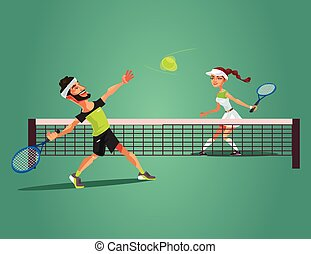 Two happy smiling people man and woman characters play tennis. Vector flat cartoon illustration
