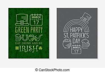 Two Happy St. Patricks day grunge vintage posters.