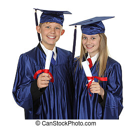 Two Happy Students Holding Degree