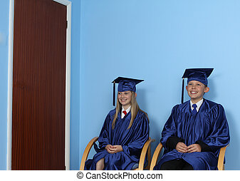 Two Happy Students Sitting On Chair