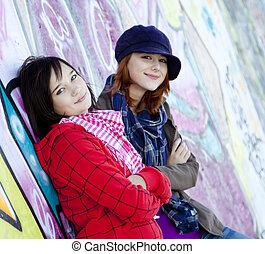Two happy urban girls.